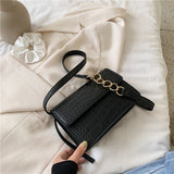 Crocodile Pattern Solid Color PU Leather Small Crossbody Bags For Women Chain Shoulder Handbags Lady Summer Travel Flap Bag