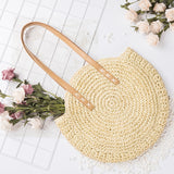 Lovevook fashion women shoulder bag handmade woven Straw bag for travel Round beach totes for ladies Rattan bag 2020 summer