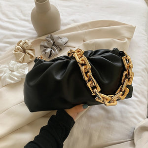 Solid Color Pleated Tote bag 2020 Fashion New High-quality Soft Leather Women's Designer Handbag Travel Shoulder Bags Armpit bag