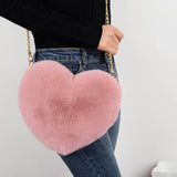 2020 Fashion Women's Heart Shaped Handbags Cute Kawaii Faux Fur Crossbody Bags Wallet Purse Chain Shoulder Bag Lady Handbag