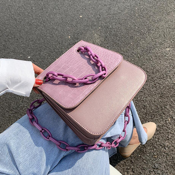 Stone pattern Square Crossbody bag 2020 Fashion New High-quality Leather Women's Designer Handbag Chain Shoulder Messenger Bag
