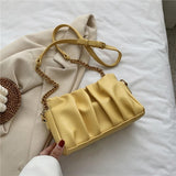 Folds PU Leather Crossbody Bags For Women 2020 Solid Color Simple Shoulder Handbags Female Travel Summer Cross Body Bag