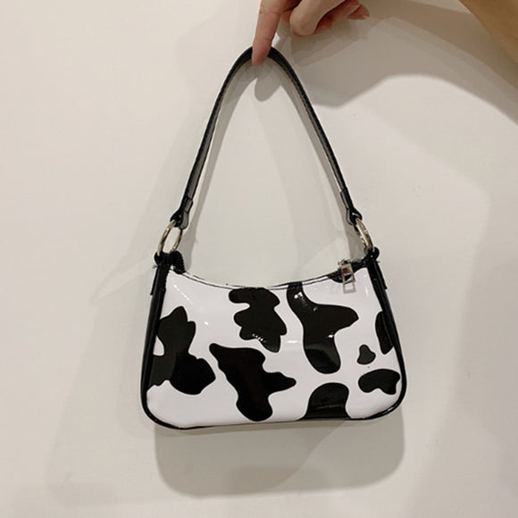 Milk Cow Print Women's Bag Fashion Women Handbags Baguette Shape Female Shoulder Bag Underarm Women Bag 2020 hobos clucth purses