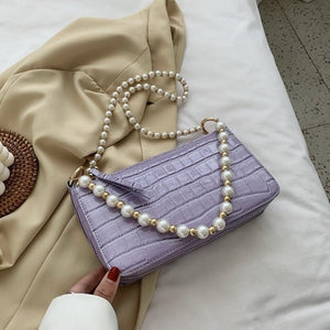 Stone Pattern Pearl Shoulder Belt PU Leather Crossbody Bags For Women 2020 Simple Shoulder Handbags Female Cross Body Bag