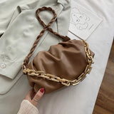 Wave Strap Belt Design PU Leather Crossbody Bags For Women 2020 Small Gold Metal Shoulder Handbags Female Fashion  Bag