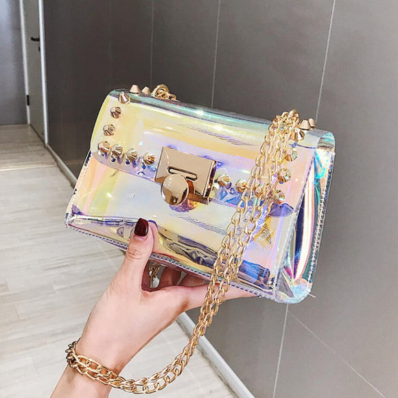 Transparent Jelly Square Crossbody bag 2020 Summer New High-quality Women's Designer Handbag Laser Chain Shoulder Messenger Bag