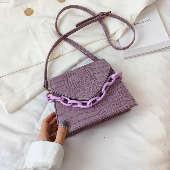 Stone Pattern Small PU Leather Crossbody Bags For Women 2020  Shoulder Handbags Female Travel Chain Cross Body Bag