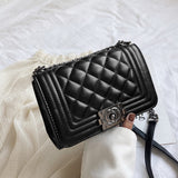 Women's shoulder bag 2020 new fashion diamond chain small bag  luxury  women bags designer wild leather Crossbody bag Black