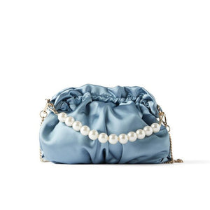 Women's Bag Mini Pearl Bucket Bag Light Blue Silk Shoulder Bags for Women 2020 Pearl Crossbody Bag sac a main femme malas ombro