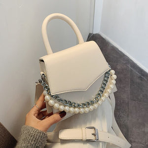Elegant Female Tote bag 2020 Fashion New High Quality PU Leather Women's Designer Handbag Pearl Chain Shoulder Messenger Bag