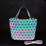 2020 New Summer Luminous Color Changing Women's Handbags Diamond Geometric Shoulder Bags Removable Shoulder Strap Bag Tote Bags