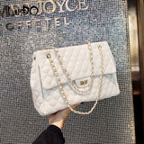 LUCDO Diamond Lattice Chain Luxury Handbags Women Bags Designer High Quality Women Pu Leather Shoulder Messenger Crossbody Bag