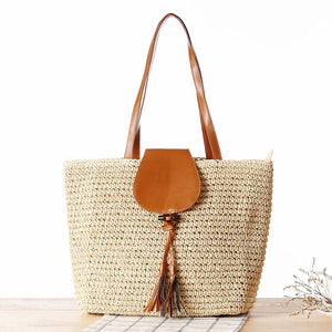 OCEHNUU Summer Woven Straw Handbags Beach Bags Women Large Fashion Bolsos Mujer Solid Big Women's Shoulder Bags With Zipper