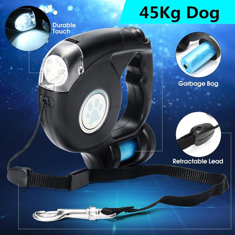 4.5M LED Flashlight Extendable Retractable Pet Dog Leash Automatic Flexible Traction Rope Belt Lead with Garbage Bag