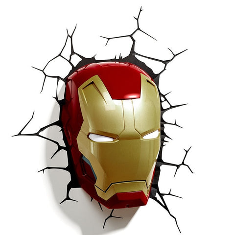 Avengers Series 3D Marvel LED Wall lamp Living Room Creative Night Light Ironman Hulk Captain American as Boy's Gift