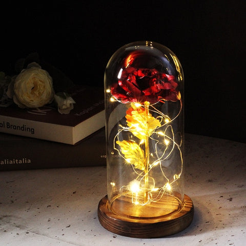 Eternal Rose Flower The Beauty And Beast Rose In A Glass Dome LED Lamps Home Decor Wedding Christmas Valentines Day Gift