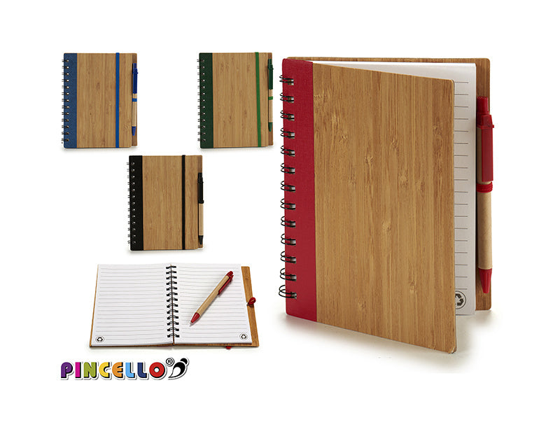 Notebook bamboo cover plain pen 18x14 m4