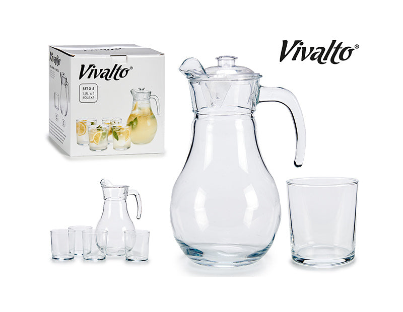 Set of glass jar 18lt with 4 glasses