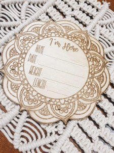 Mandala Newborn Plaque