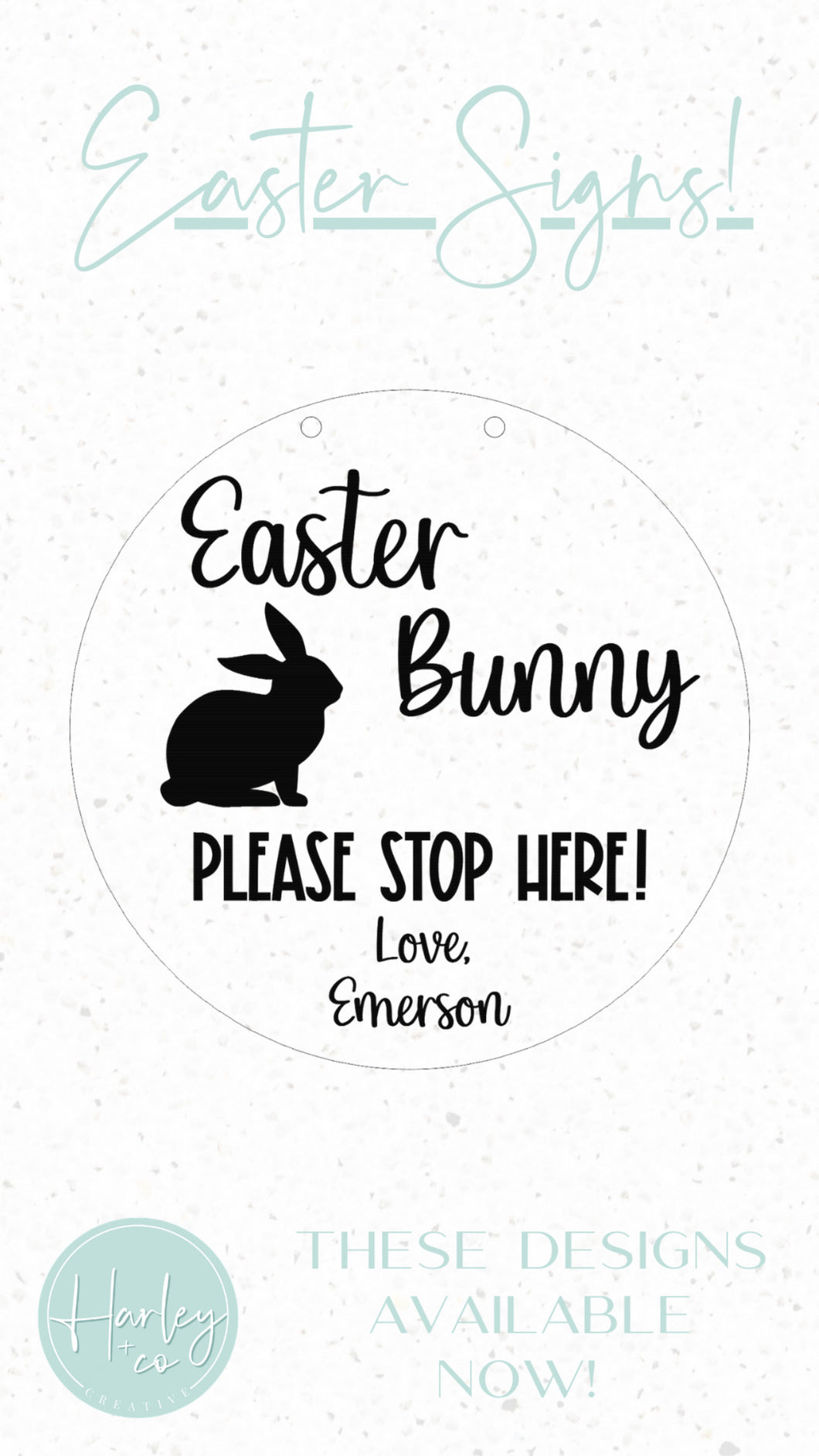 Easter Bunny Stop Here 20cm Sign