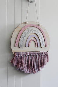 Rainbow Macrame Plaque