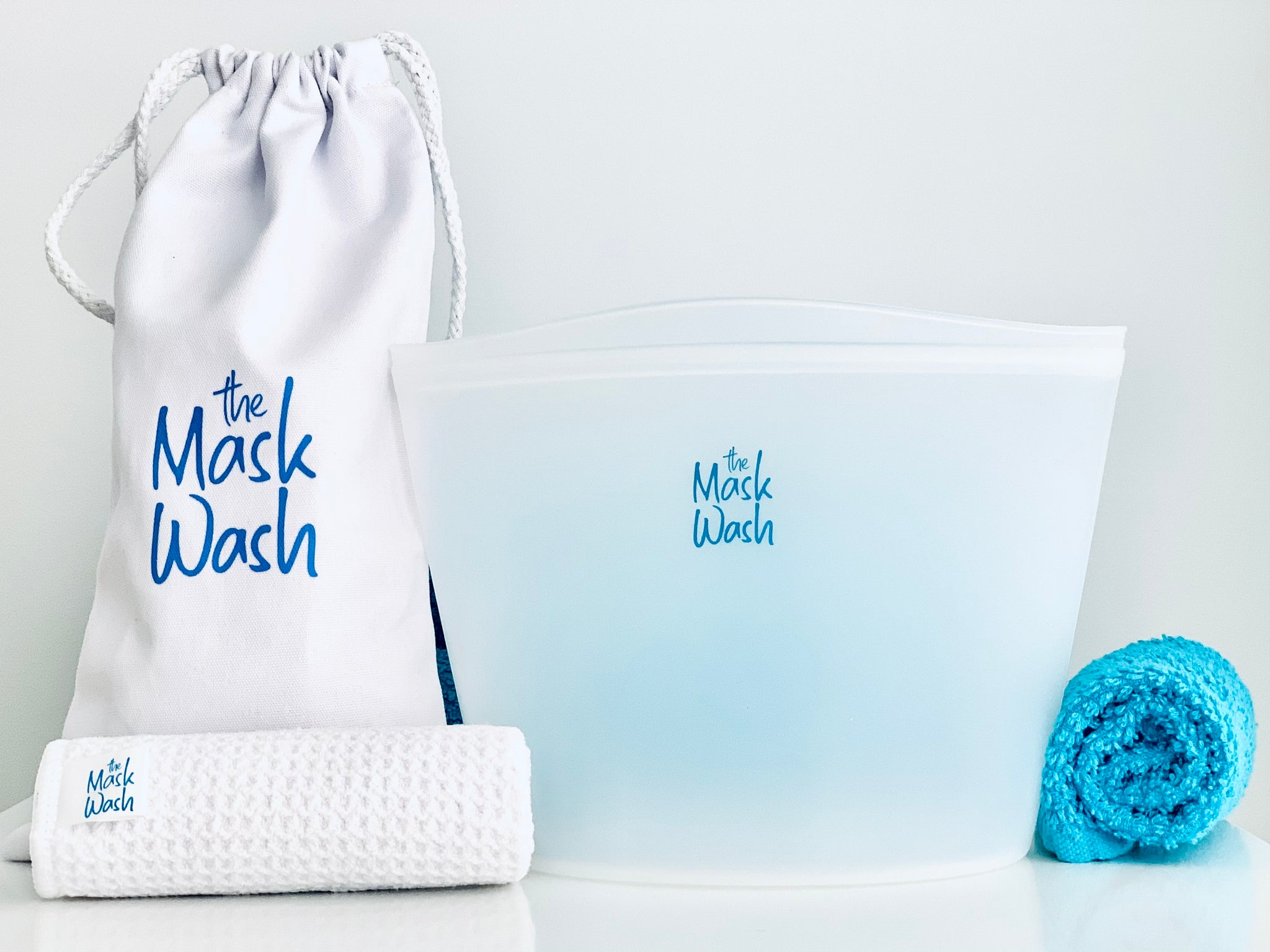 silicone wash bag for your fabric mask, ultra absorbent drying towel, 100% cotton drawstring storage and travel bag