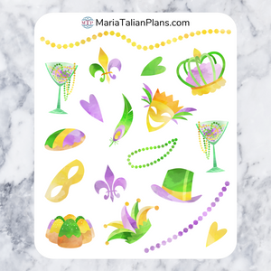 Mardi Gras Deco Stickers