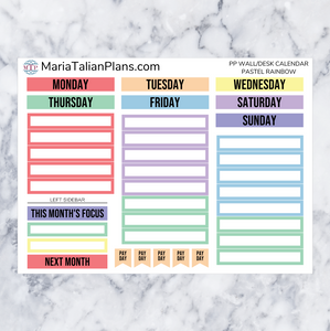 Monthly Kit for Passion Planner Desk/Wall Calendar