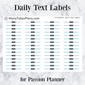 Work | Daily Text Labels | Passion Planner