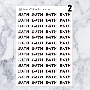 Bath | Script Stickers