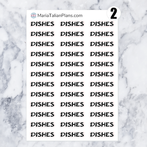 Dishes | Script Stickers
