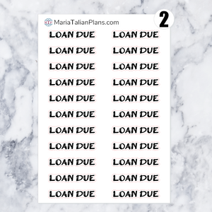 Loan Due | Script Stickers