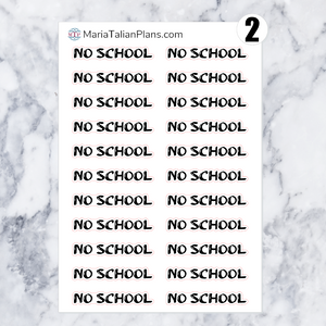 No School | Script Stickers