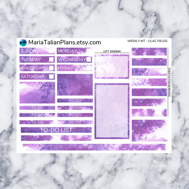 Passion Planner Weekly Sticker Kit - Lilac Fields