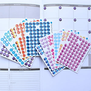 Planner Date Covers, Calendar Numbers, 1-31, Date Dots