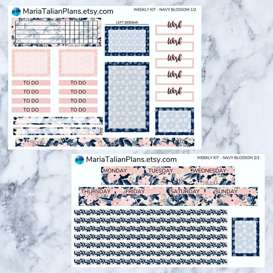 Passion Planner Weekly Sticker Kit - Navy Blossom
