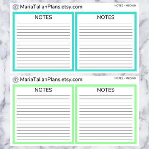 Notes Box Stickers for Passion Planner | Solid Color