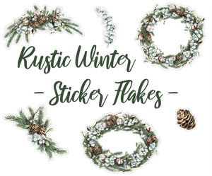 Rustic Winter - Sticker Flakes | Die Cut | Deco Stickers
