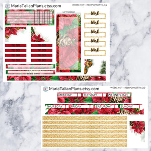 Passion Planner Weekly Sticker Kit - Red Poinsettia