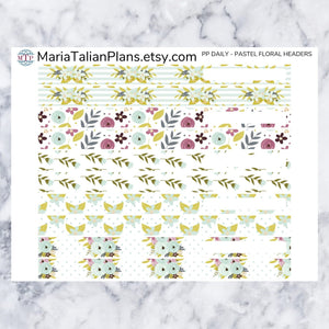 Passion Planner Daily Stickers - Pastel Floral Headers