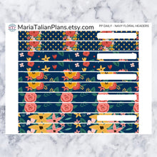 Load image into Gallery viewer, Passion Planner Daily Stickers - Navy Floral Headers