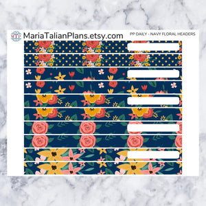 Passion Planner Daily Stickers - Navy Floral Headers