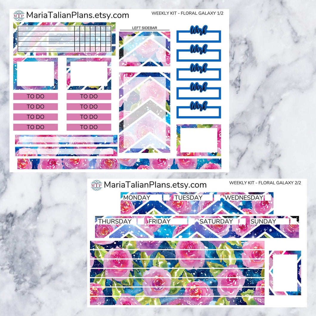 Passion Planner Weekly Sticker Kit - Floral Galaxy