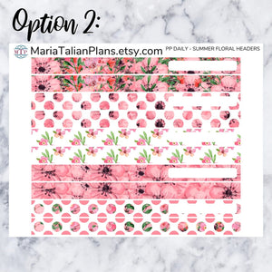 Passion Planner Daily Stickers - Summer Floral Headers