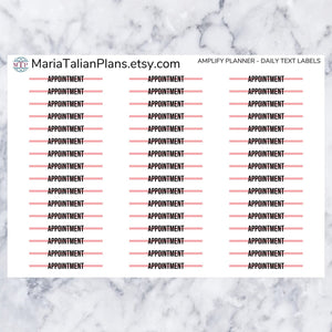 Daily Text Labels | Amplify Planner | Planner Stickers