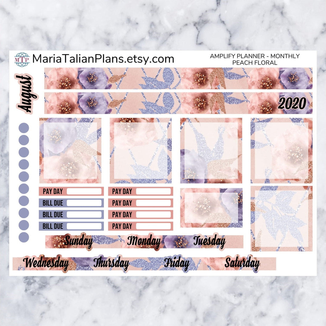 Amplify Planner Monthly kit - Peach Floral