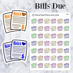Bills Due Icons