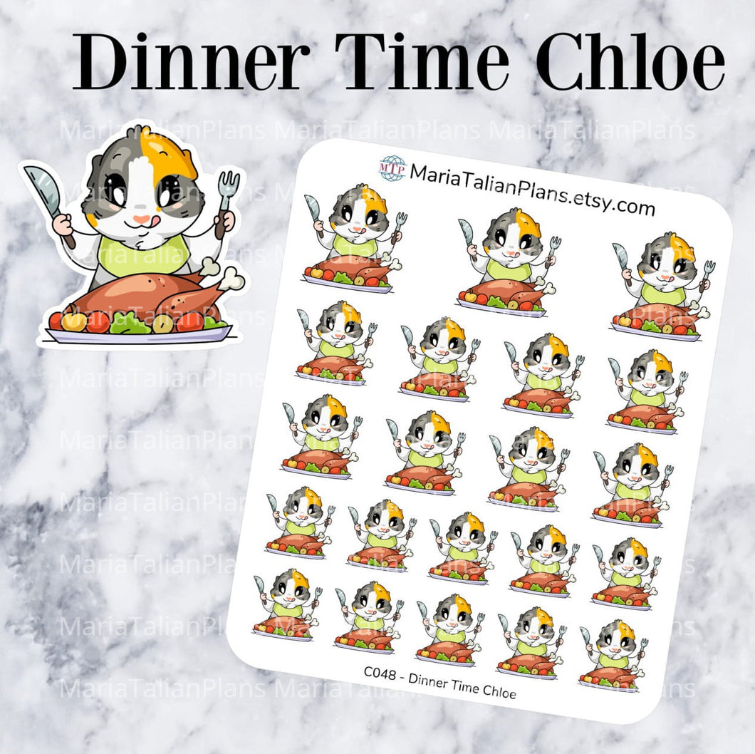 Dinner Time Chloe | Guinea Pig Stickers