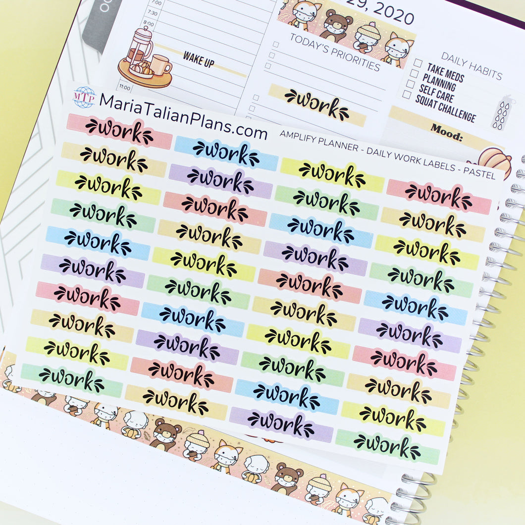 Daily Work Labels | Amplify Planner | Planner Stickers