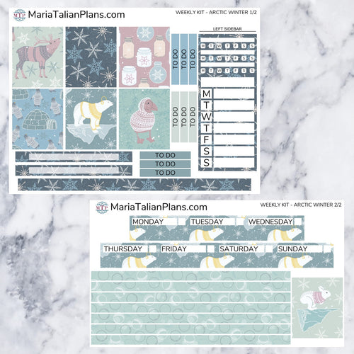 Passion Planner Weekly Sticker Kit - Arctic Winter | Small, Medium, and Large Size | Planner Stickers